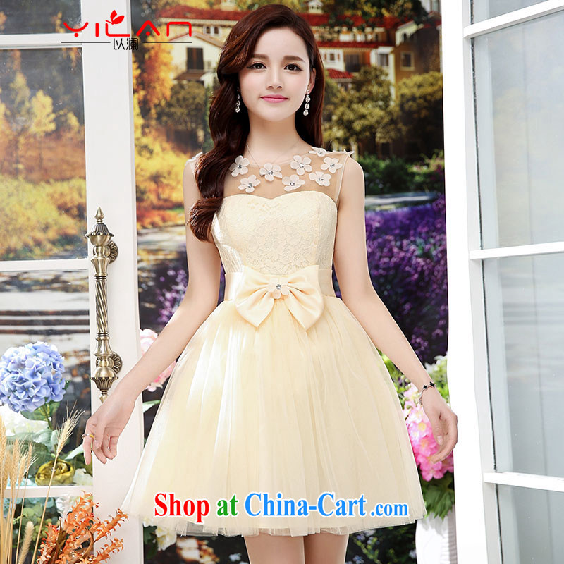 The world 2015 new female shaggy Web yarn skirts wedding bridal toast dress sister bridesmaid dress at annual meeting 1566 skirt apricot S