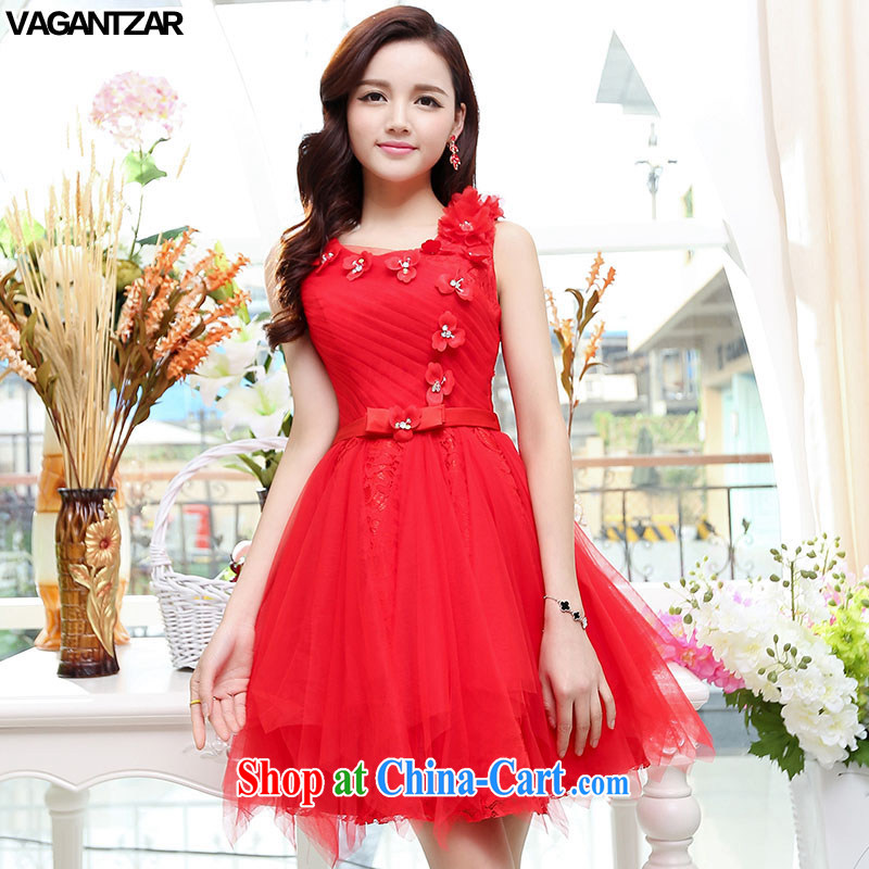 2015 VAGANTZAR New Name Yuan dress small fragrant wind sleeveless beauty exclusive wedding dresses wedding dress red M