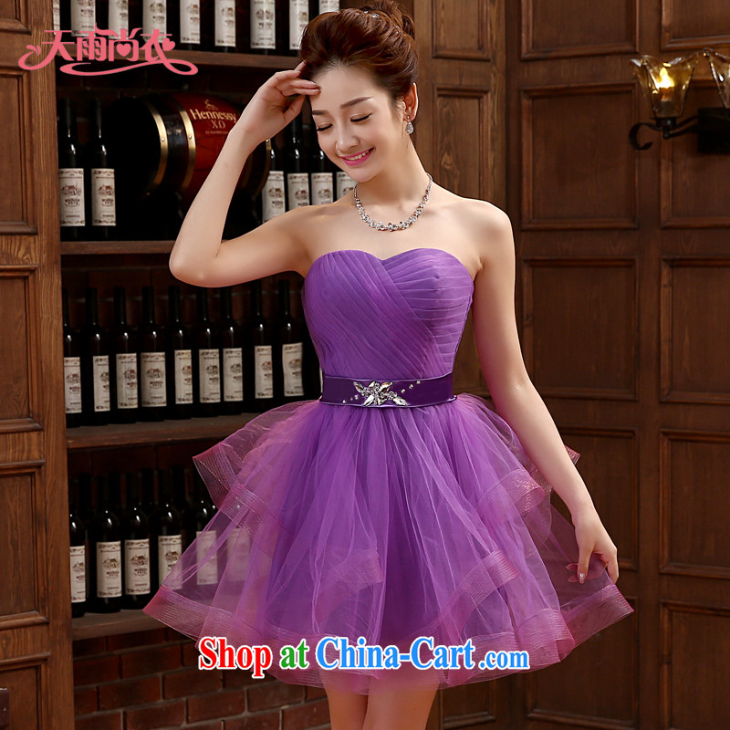 Rain is still Yi marriages new stylish performances wedding bridesmaid dresses small photo building photography styling purple short dress LF 214 purple tailored