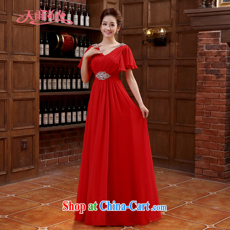 Rain is still Yi marriages bows new dual-shoulder stylish red long dress the hotel banquet dress elegant parquet drill gown LF 218 red tailored