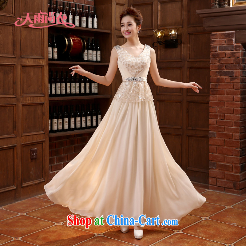 Rain is still clothing bridal wedding dresses wedding dresses long toast Dinner served to the hotel guests dress dresses shoulders nails Pearl Spring and Summer LF paragraph 220 champagne color L