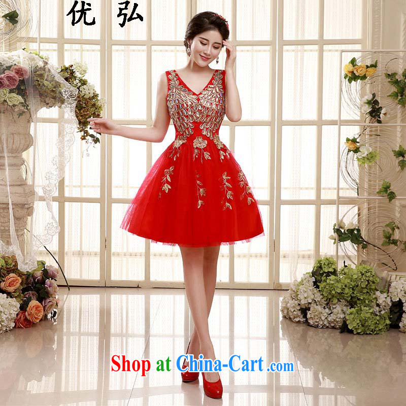 Optimize Hong 2015 spring and summer New Red double-shoulder lace marriages and short dress wine served 006 ycf XXL
