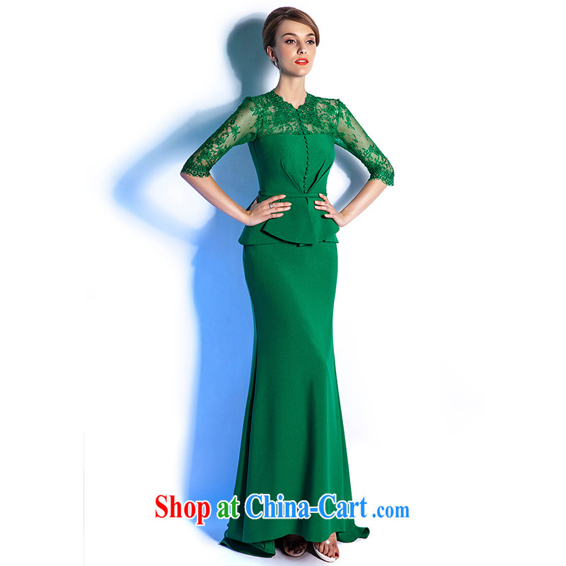 The Champs Elysees, as soon as possible, 2015 show, advanced custom dress long reception dinner beauty dresses moderator evening dress female Green high the final contact Customer Service size