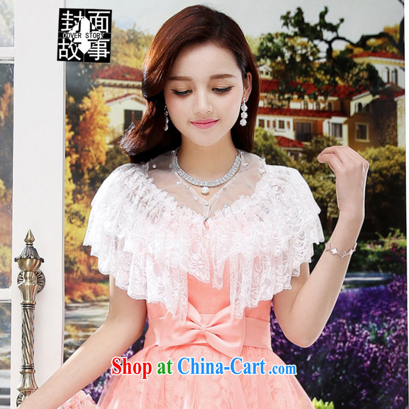 Cover Story 2015 new 100a lady style lace dress shawl, white T-shirt