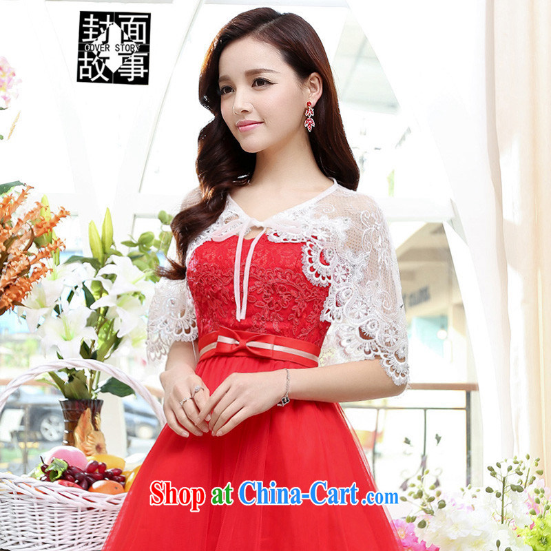 Cover Story 2015 new lace sunscreen small dress 100 ground stand waist shawl white are code