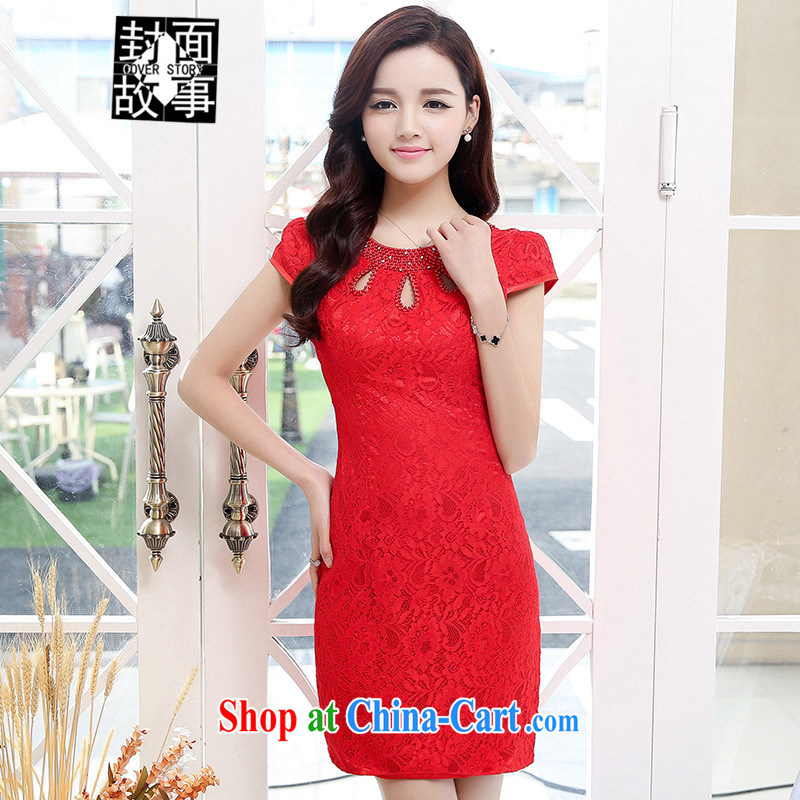 Cover Story 2015 new cultivating the waist retro style short, small dress dresses cheongsam style bridal tea dresses red XXL
