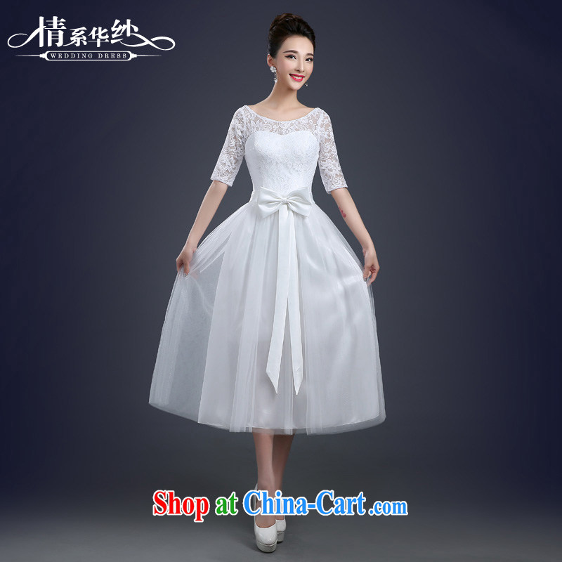 The china yarn 2015 new bridesmaid serving short bridesmaid dress the dress wedding toast service bridal gown Evening Dress spring and summer white. size does not accept return