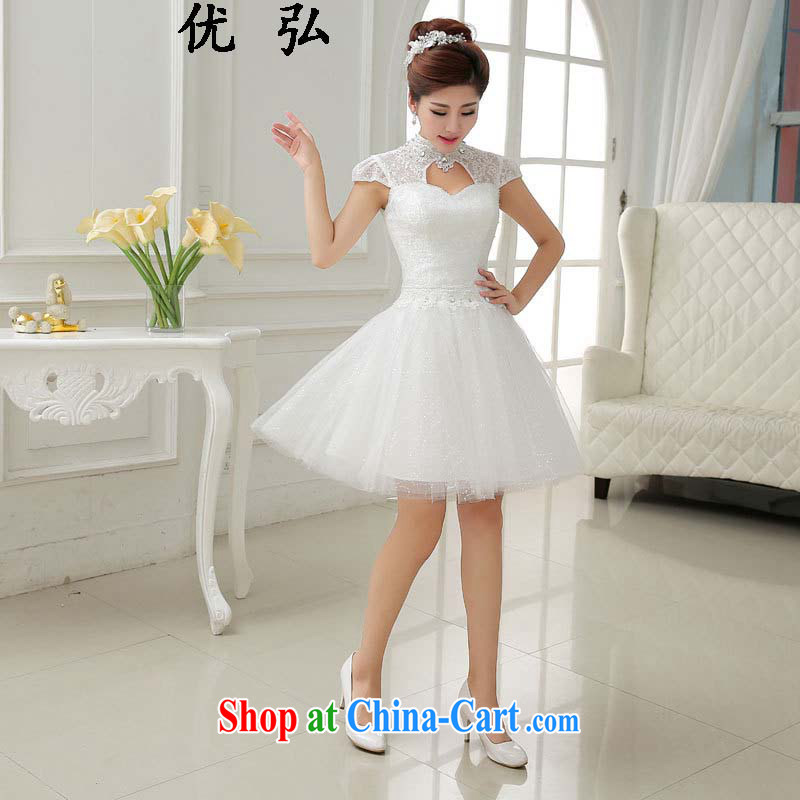 Optimize video 2015 spring and summer new lace short white dress bridal wedding toast serving small dress skirt 012 ycf XXL