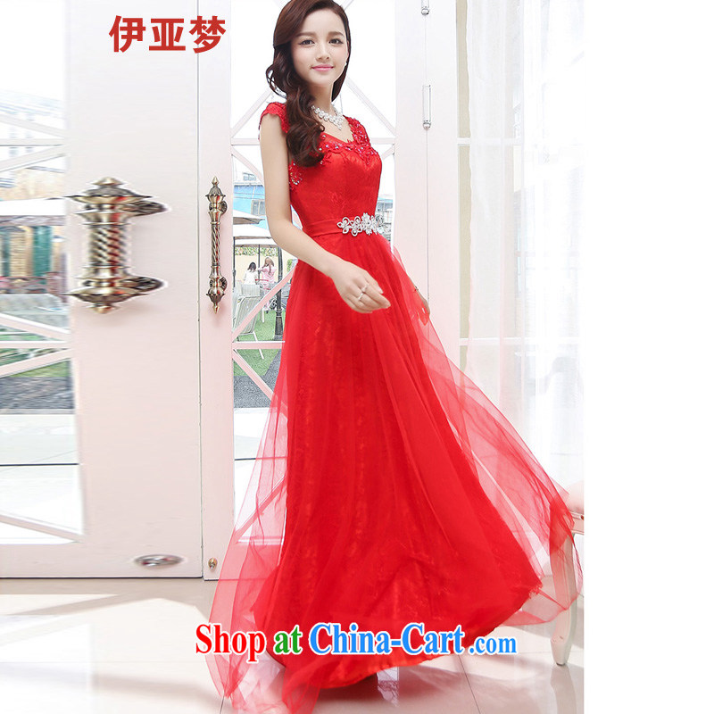 The dream in the 2015 spring and summer New Long wedding dresses beauty graphics thin Web yarn back exposed large banquet dress dress bridal with large red XL
