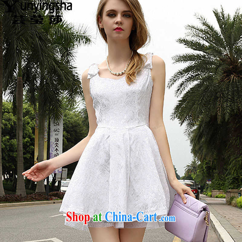 Soon Elizabeth Anna 2015 summer shaggy large skirt with dress dresses L 9128 white XL