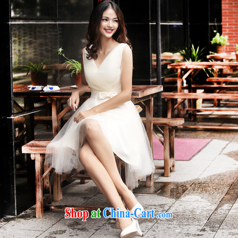 Summer 2015 new stylish bridesmaid serving double-shoulder strap banquet chair bows dress short skirt and sisters small dress light champagne color XXL (graphics thin dress)