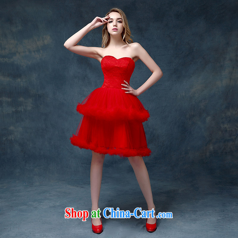 According to Lin Sha Evening Dress 2015 new bride wedding toast clothing Korean dress short lace dress female Red S