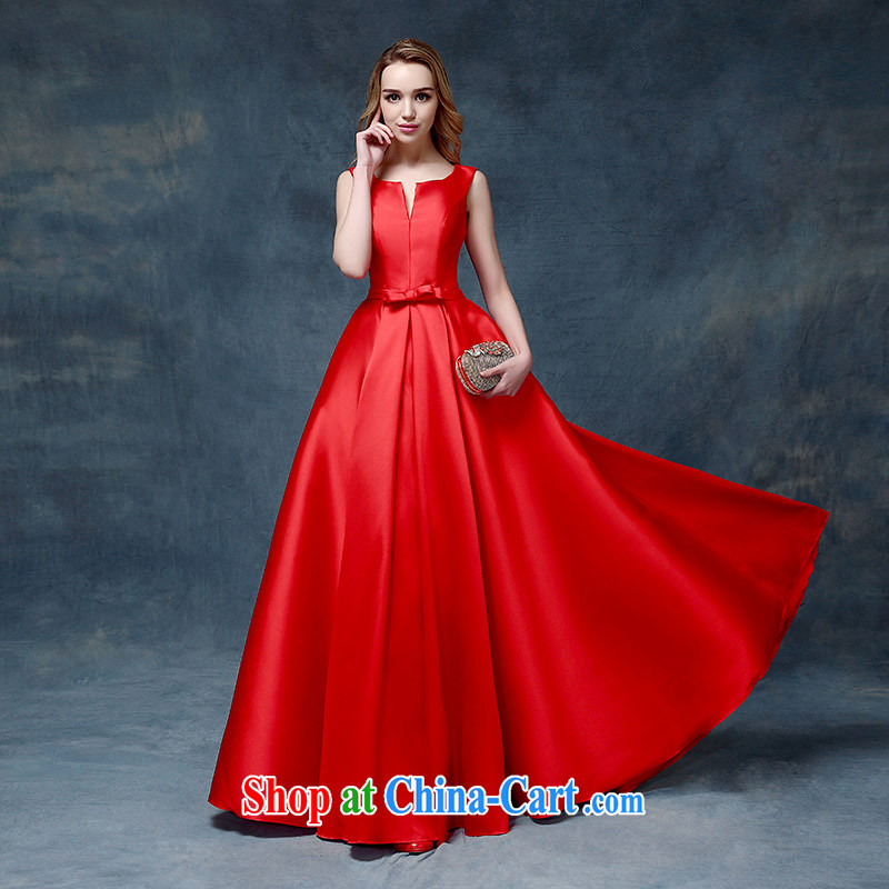 According to Lin Sa 2015 new wedding dresses toast serving long-field shoulder alignment, bridal wedding dress bridal red XL