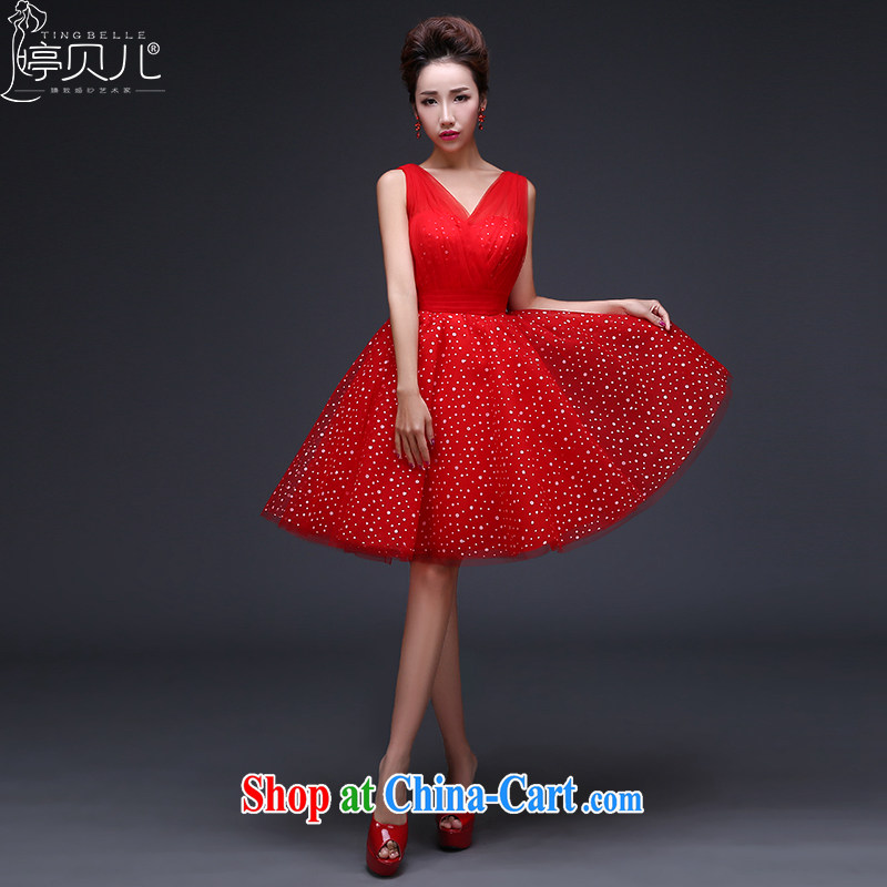 Ting Beverly bridesmaid dresses new 2015 spring bridal wedding dress beauty stylish double-shoulder bows clothing red girl summer short dress dresses red XXL