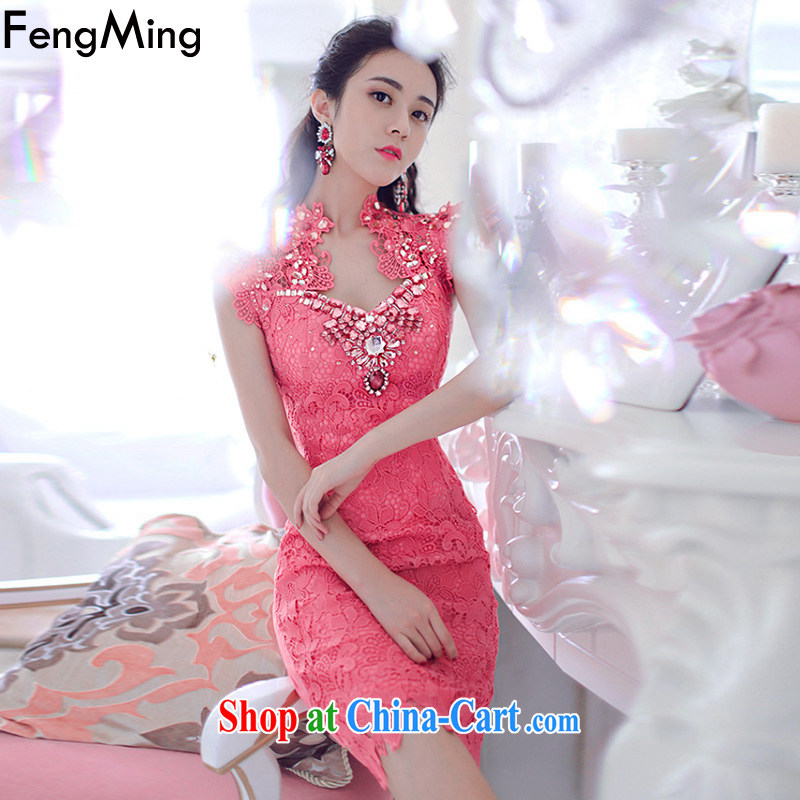 Abundant Ming Ching Ching with parquet drill to the staple Pearl dress female water-soluble retro lace dresses 2015 spring and summer new, better red L