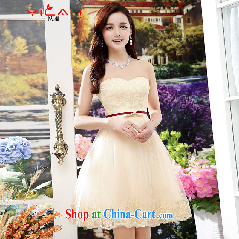 The world's new women with short, Shaggy Web yarn short skirts wedding bridal toast dress sister bridesmaid dress at annual meeting 1563 skirt apricot S