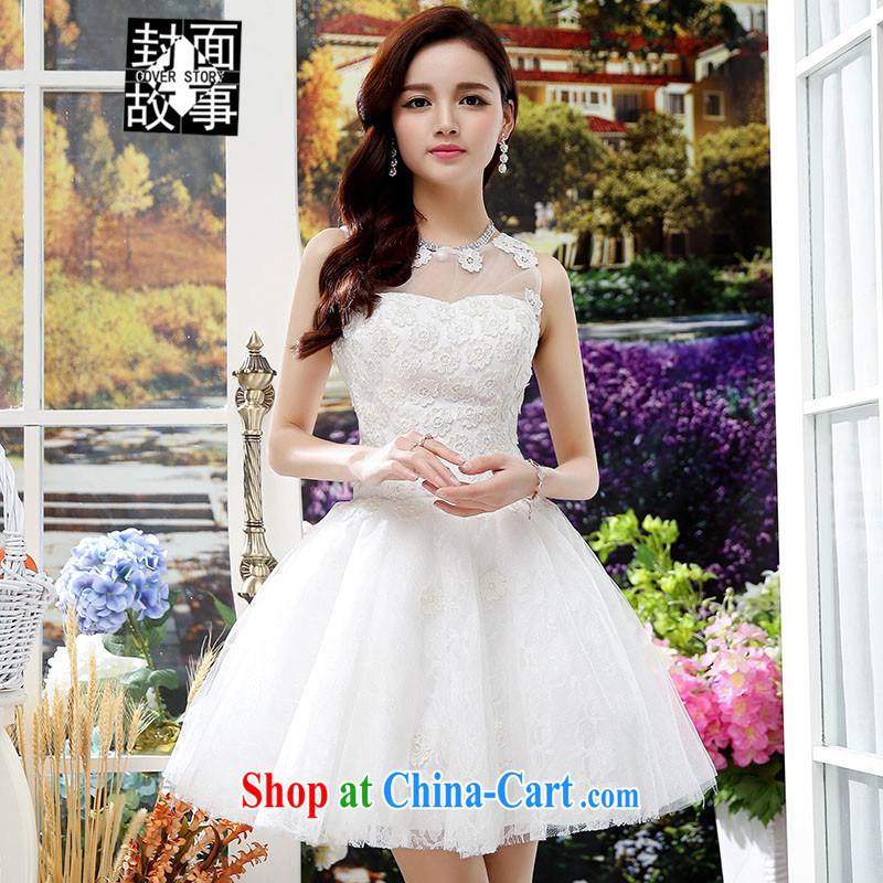 Cover Story 2015 new fluoroscopy the chest with shaggy dress bride small dress bridesmaid dress dress white XL
