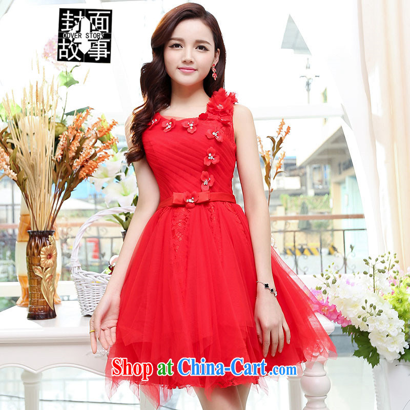 Cover Story 2015 new three-dimensional flowers the lumbar shaggy short skirts, small dress brides with wedding dresses red XL