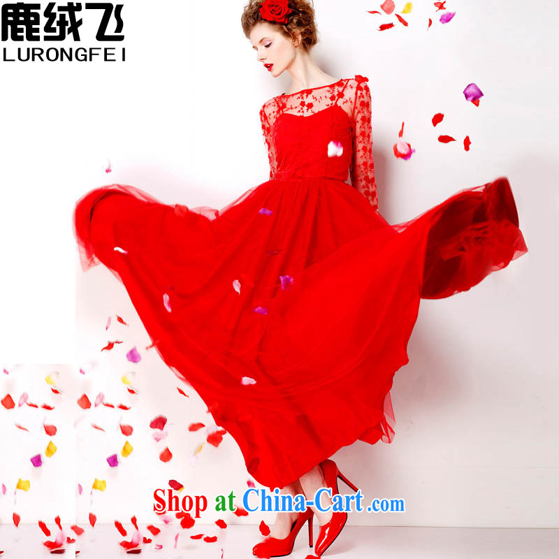 Lint-free cloth, the red embroidered dresses 2015 retro lace red petticoat bridal 9M large long skirt dress 7072 red XL