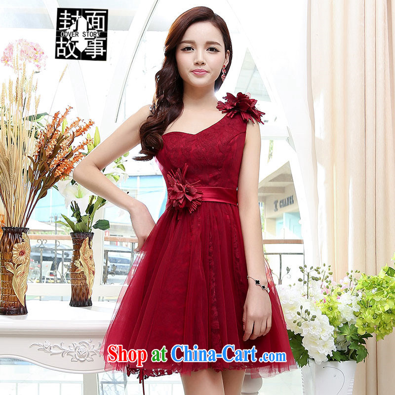 Cover Story 2015 summer new stylish sexy bare chest shaggy dress bridal bridesmaid dresses the bride with wedding dress wine red XL