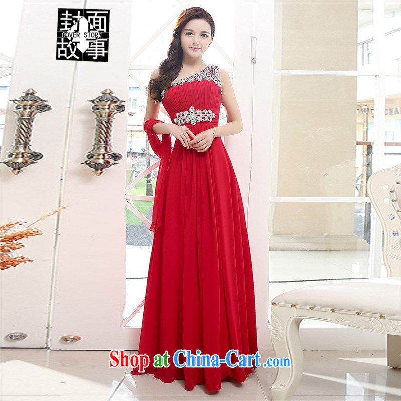 Cover Story summer 2015 new Korean single shoulder a shoulder back exposed snow woven dress bridal bridesmaid dresses dress uniform toast wine red XL