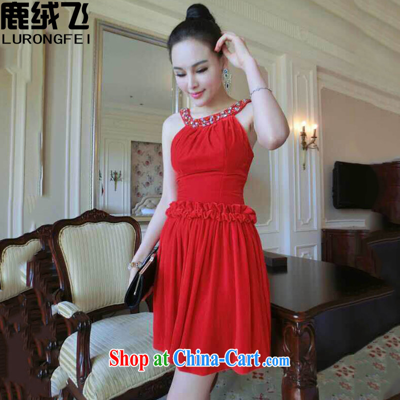 Lint-free cloth, The 2015 New Name Yuan sweet-staple also Pearl dress stylish sleeveless attached also dresses 012 red M