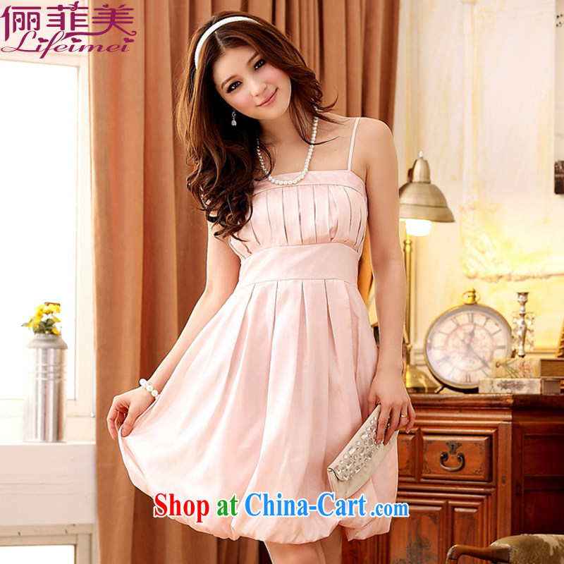 An Philippines and the United States, on the strap color, Princess dress bridesmaid Dinner Show straps high-waist high, small dress pink XXXL