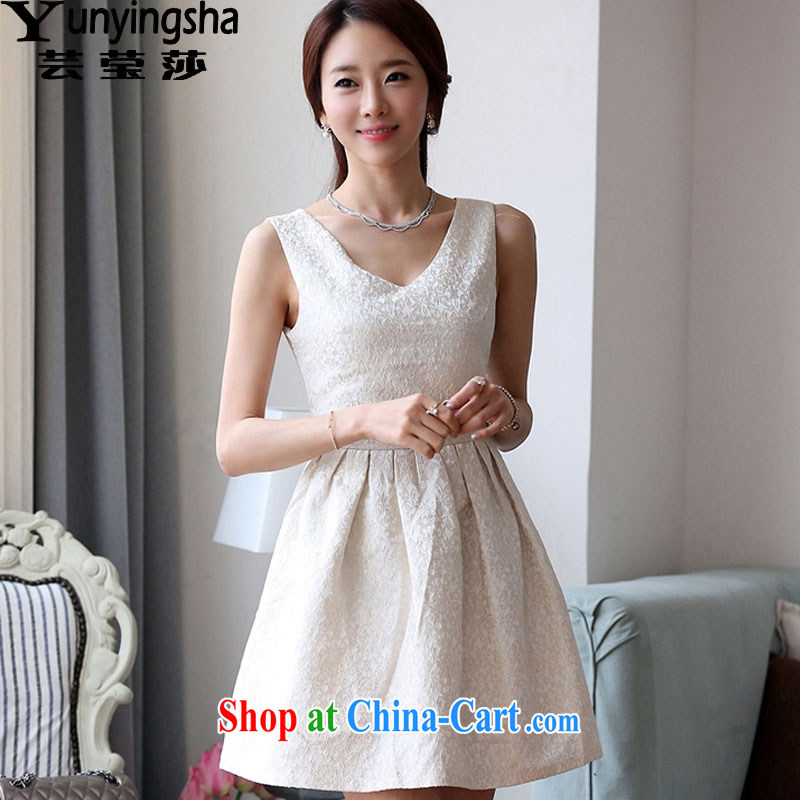 Soon Elizabeth Anna 2015 spring and summer new Korean Beauty sweet stamp V collar bridesmaid dress dresses L 9137 m White XL
