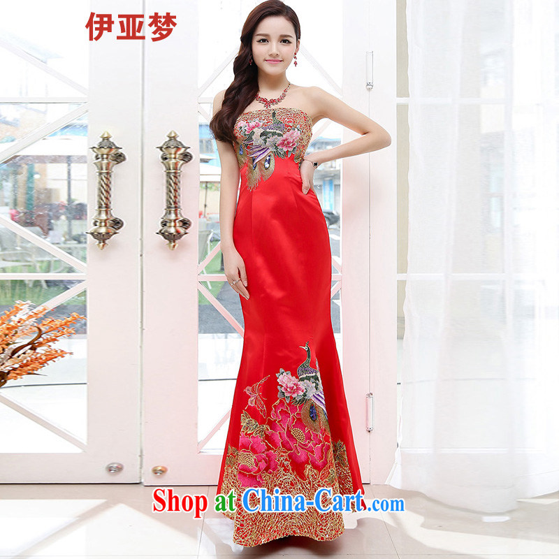 The dream in the 2015 summer new female retro Classic beauty embroidery stamp wiped his chest long crowsfoot wedding dresses marriage with large red XL