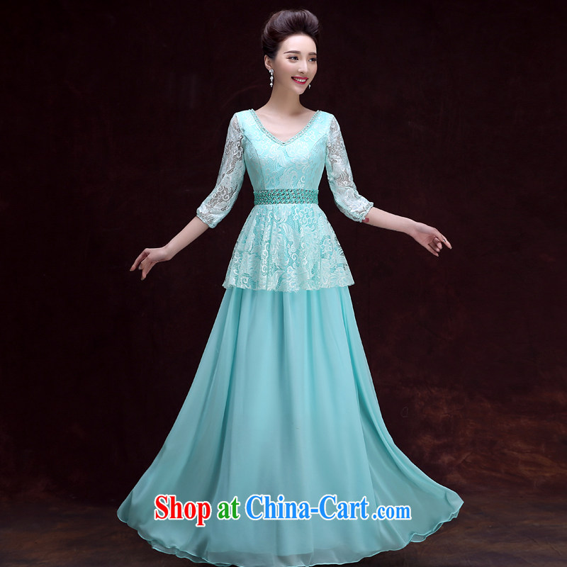A good service is 2015 new dress sister's bridesmaid dress, banquet dress long moderator dress Ice Blue 2XL
