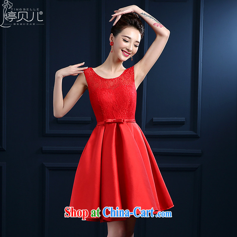 Ting Beverly bridal toast clothing spring and summer new 2015 wedding dresses Red double-shoulder short lace wedding banquet dress skirt girls fluoroscopy erase chest bridesmaid clothing red XXL