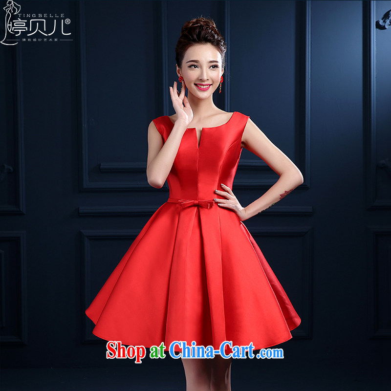 Ting Beverly 2015 new bride's toast clothing Spring Summer Red field shoulder short marriage betrothal small dress skirt banquet dress girls tie-red beauty XXL