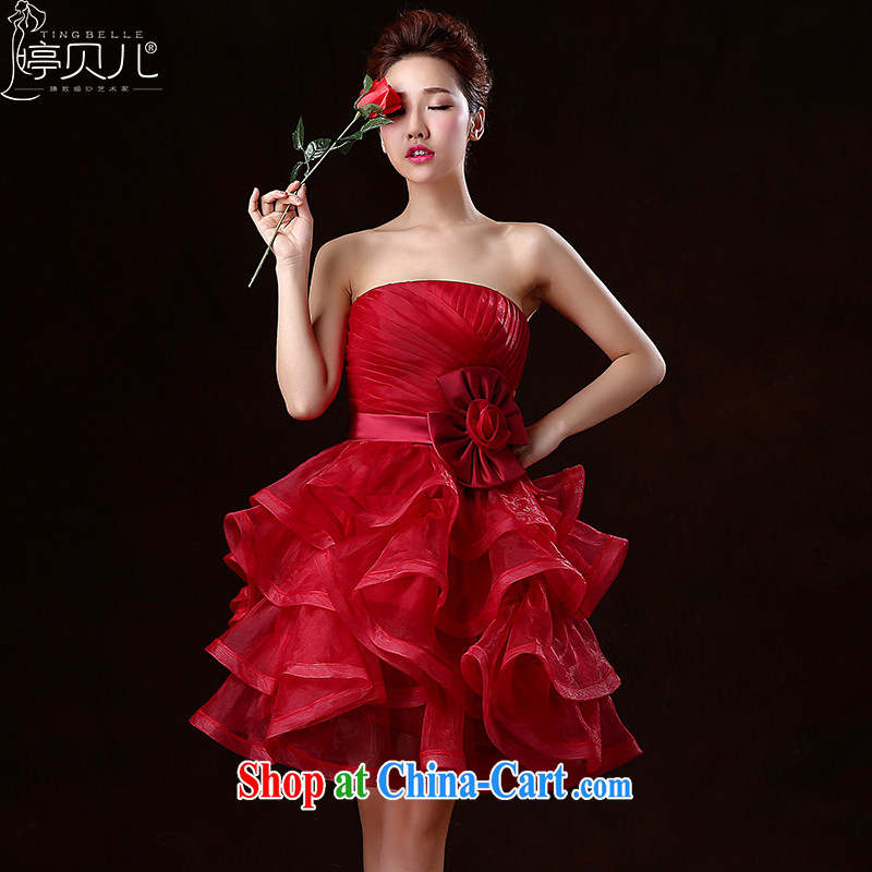 Ting Beverly 2015 new toast Service Bridal wedding dresses spring and summer short, red erase chest banquet dress shaggy dress betrothal small dress dark red XXL