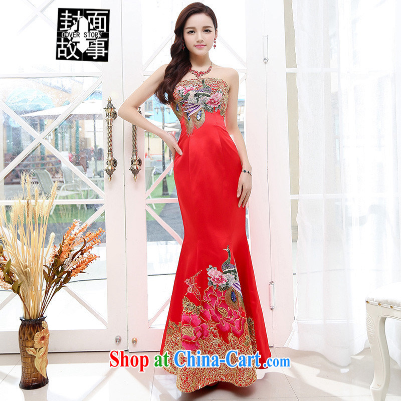 Cover Story 2015 summer night dress stores sense of crowsfoot dress dinner dress, President bows wedding embroidery Phoenix solid dresses red XL