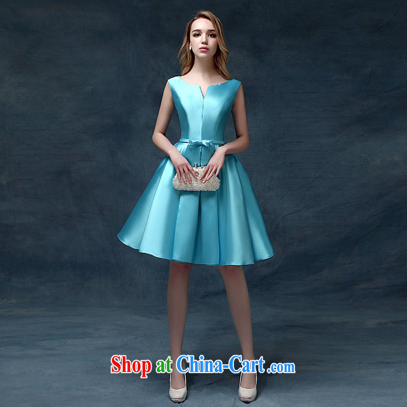 According to Lin Sha Evening Dress 2015 new Korean short spring and summer bows bridal Wedding Fashion moderator dress dresses blue L