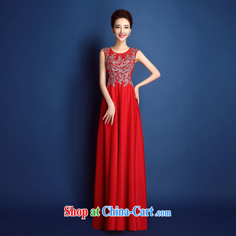 2015 new high quality red lace inserts drill a Field shoulder dress long bridal toast serving Korean Beauty spring and summer, red XXL