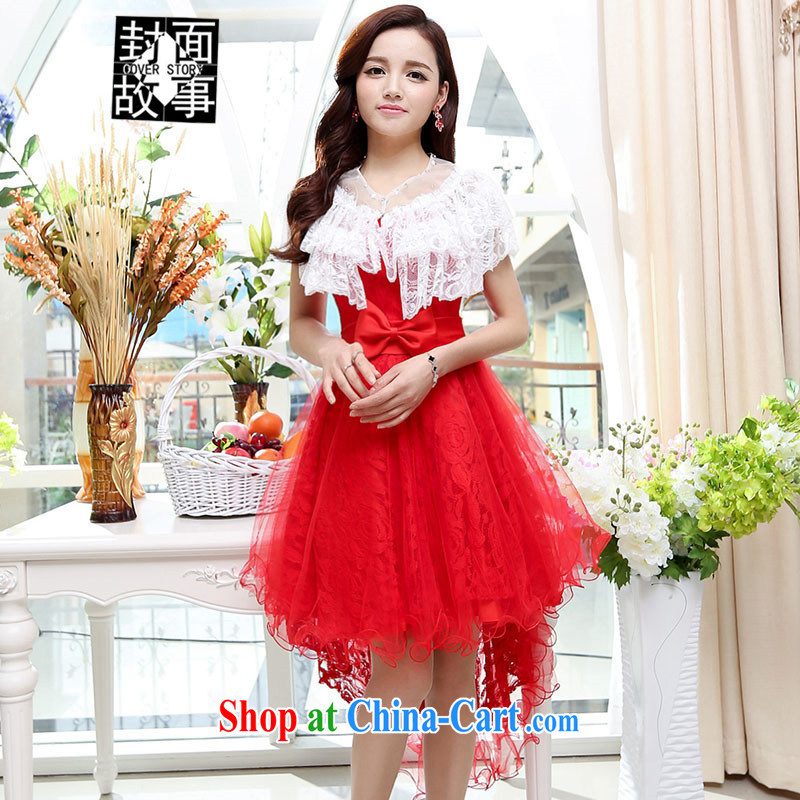 Cover Story summer 2015 new dress uniform toast dress simple and double-yi the bridesmaid Red Carpet dress with stars, wedding red S