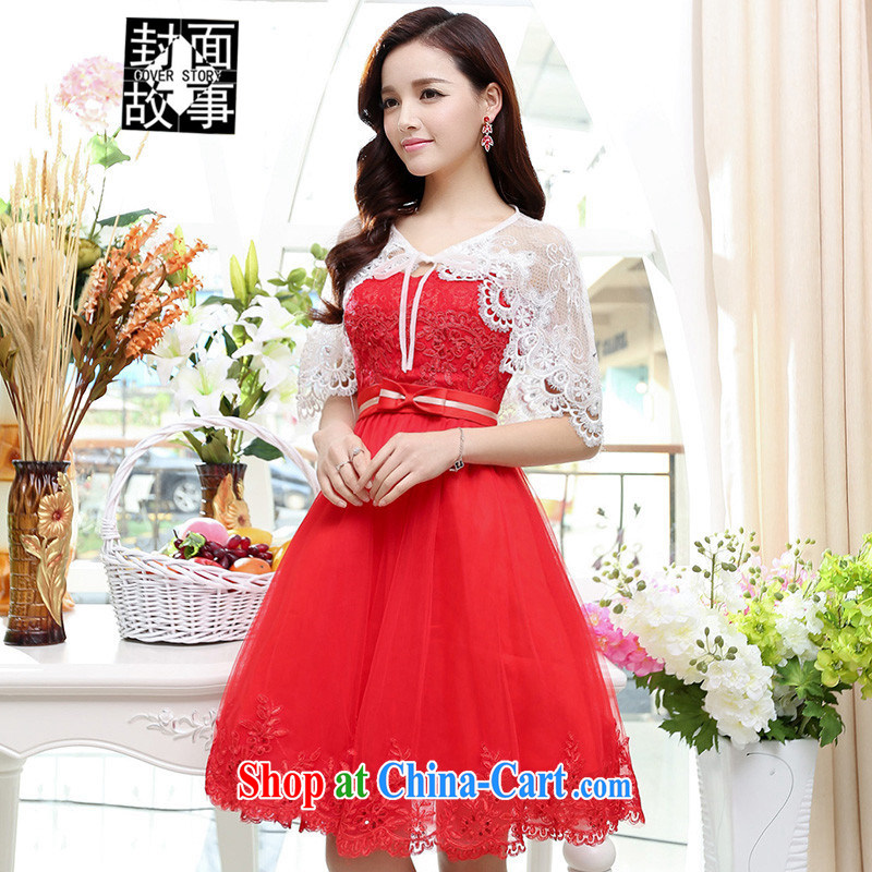 Cover Story summer 2015 new female bride fitted dresses dress banquet wedding lace bridal red XL