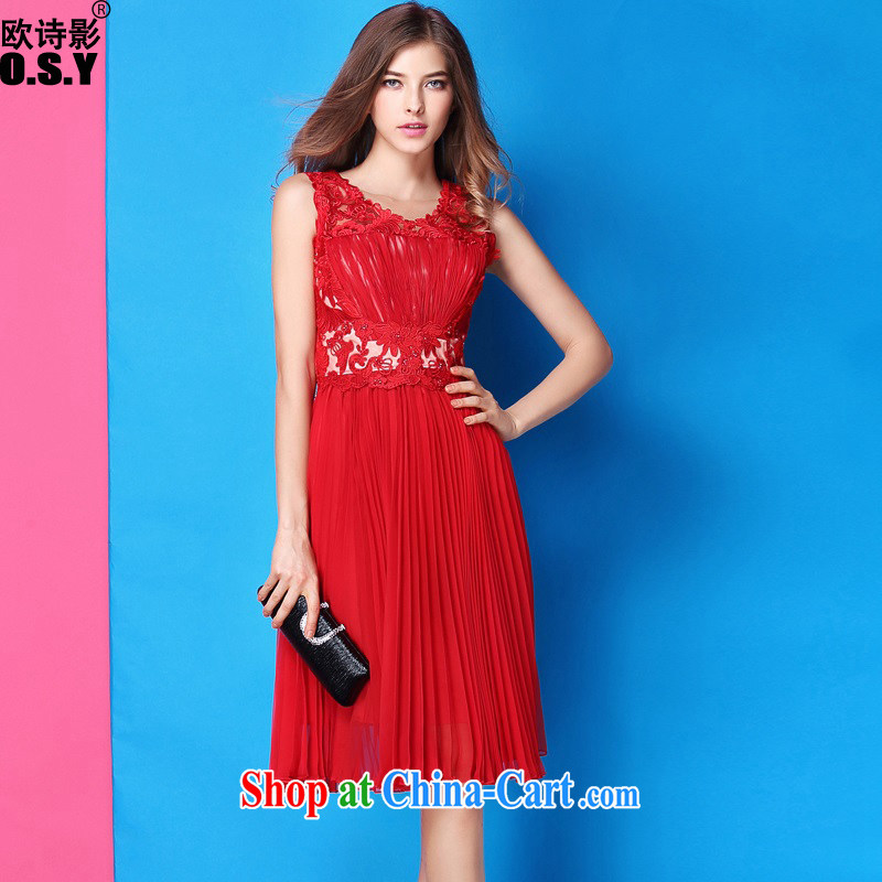 The poetry film summer 2015 new Openwork embroidery beads staples high waist 100 hem dresses marriage small red dress uniform toast girl skirt red XL