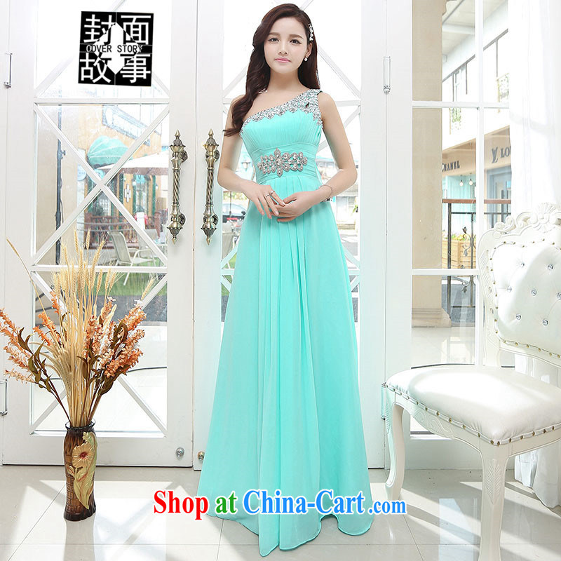 Cover Story summer 2015 new Korean single shoulder a shoulder back exposed snow woven dress bridal bridesmaid dresses dress uniform toast bride water green XL