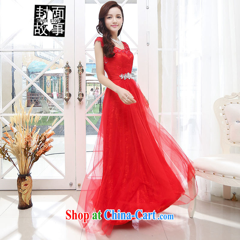 Cover Story summer 2015 new European and American style dress dress high-end high-yi long skirt sexy style long bridal with red M