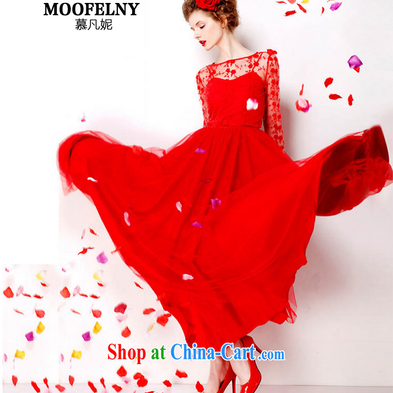 The Stephanie 2015 retro lace red petticoat bridal 9M large long skirt dress red embroidered dresses 7072 red XL