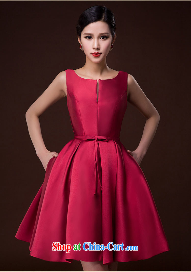 2015 New Bride Wedding Toast Serving Female Moderator Dress Brocade Straps Sleeveless Red Skirts And Deep