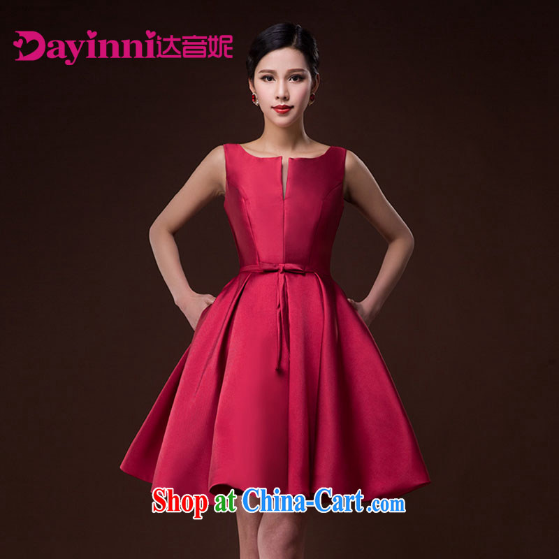 2015 new bride wedding toast serving hostess dress Brocade tie sleeveless red skirts and deep red XXL