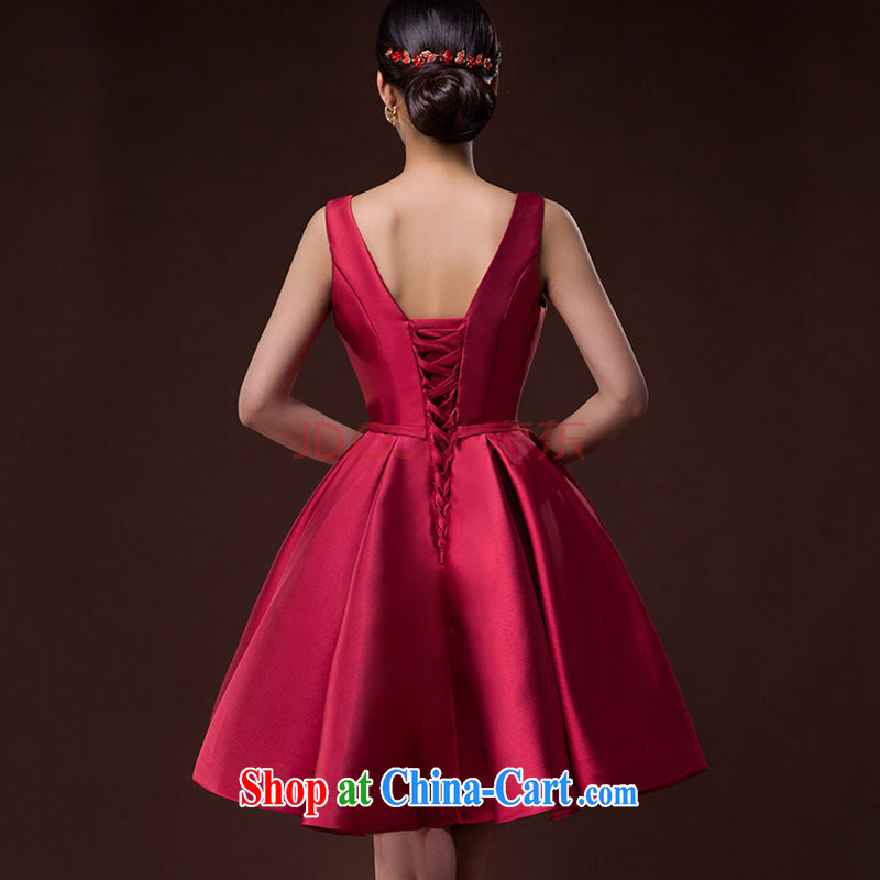2015 new bride wedding toast serving female moderator dress Brocade tie sleeveless red long skirt and deep red XXL, tone (dayinni), shopping on the Internet