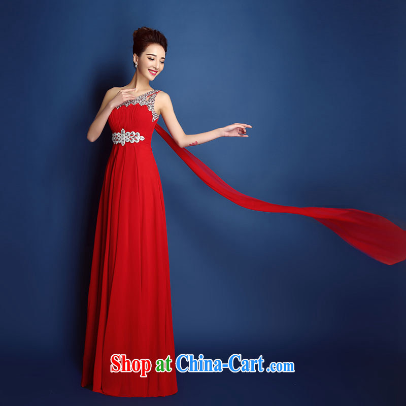 Bridal toast serving crowsfoot single shoulder parquet drill wedding dresses dress improved summer long 2015 new wedding dress beauty red Ms. XXL