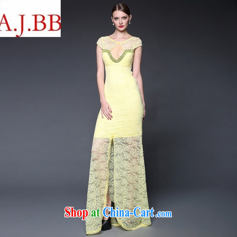 2015 Summer in Europe and the new dress lace stitching staples Pearl long sexy dress dresses W 0230 white are code