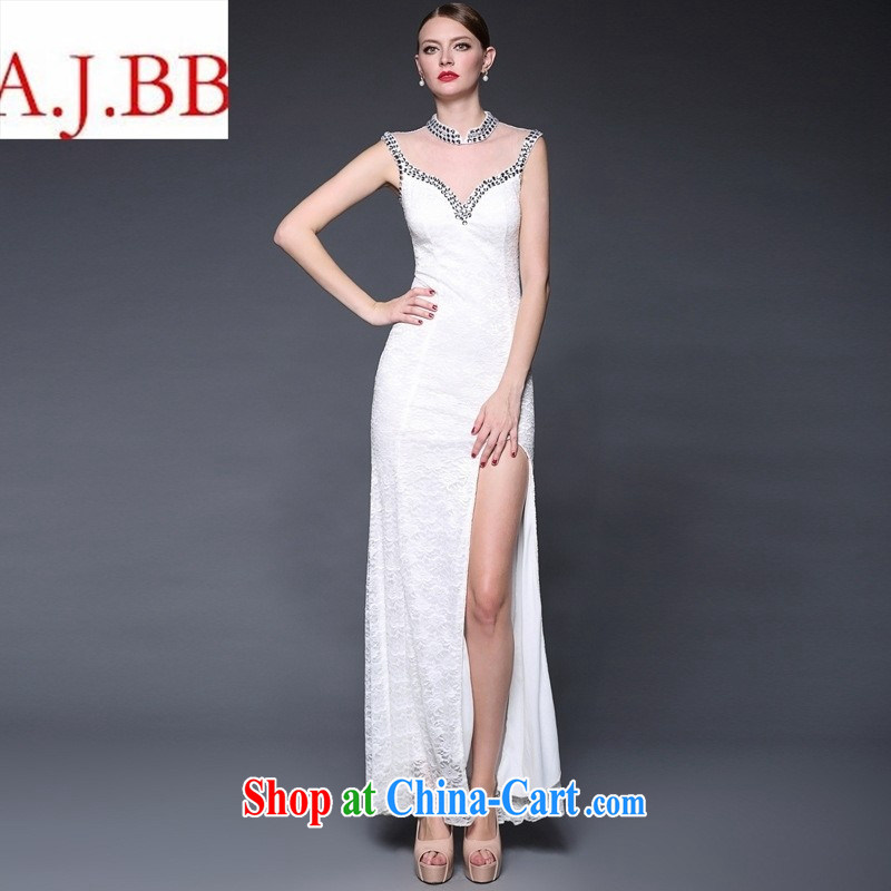 2015 new stitching lace manually staple Pearl dresses long, the forklift truck beauty dress dresses W 0143 white are code