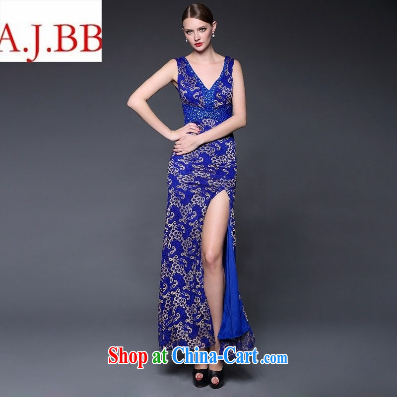 2015 summer dress new sexy beauty lace the forklift truck V collar dress dresses W 0237 blue are code