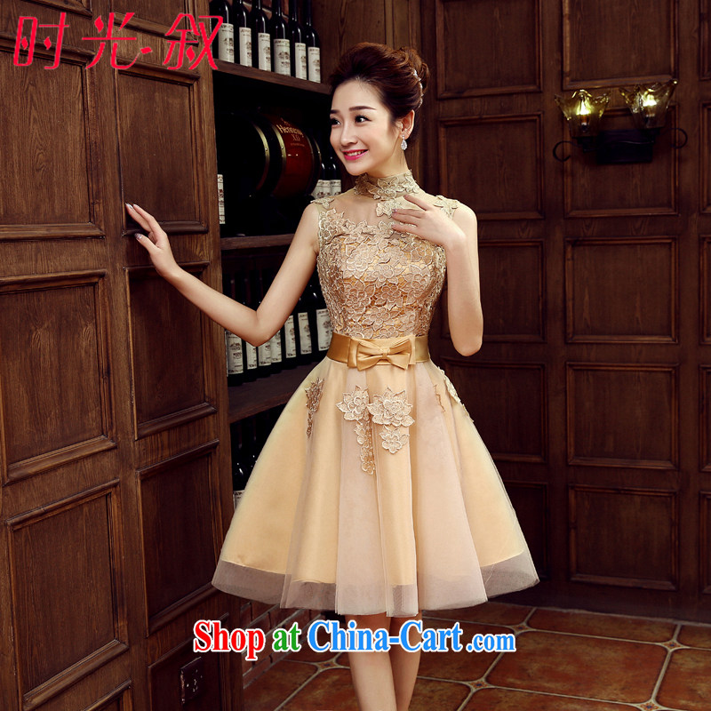 Sexy package shoulder small dress party banquet Evening Dress bride wedding toast serving short service performance 2015 new spring and summer Car Show car the banquet later stage with gold M